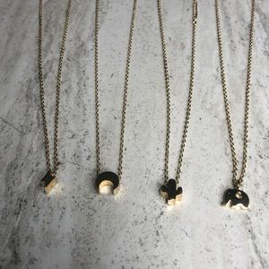 Set of 4 Fashion Necklaces Cactus Elephant Moon